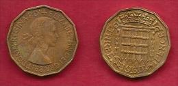 UK, 1960, Very Fine Used Coin, 3 Pence, QE II, Nickel-Brass,  KM 886 C2792 - F. 3 Pence