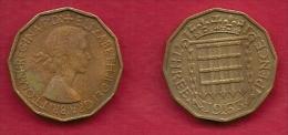 UK, 1963, Very Fine Used Coin, 3 Pence, QE II, Nickel-Brass,  KM 886 C2794 - F. 3 Pence