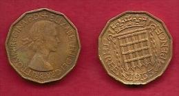 UK, 1965, Very Fine Used Coin, 3 Pence, QE II, Nickel-Brass,  KM 886 C2795 - F. 3 Pence