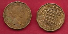 UK, 1966, Very Fine Used Coin, 3 Pence, QE II, Nickel-Brass,  KM 886 C2796 - F. 3 Pence