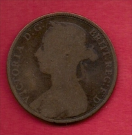 UK, 1889,  Fine Used Coin, 1 Penny, Victoria, Bronze,  KM 790, C2809 - D. 1 Penny