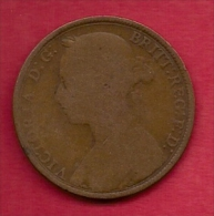 UK, 1889,  Fine Used Coin, 1 Penny, Victoria, Bronze,  KM 790, C2811 - D. 1 Penny