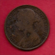 UK, 1891,  Fine Used Coin, 1 Penny, Victoria, Bronze,  KM 790, C2815 - D. 1 Penny