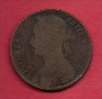 UK, 1891,  Fine Used Coin, 1 Penny, Victoria, Bronze,  KM 790, C2816 - D. 1 Penny