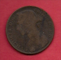UK, 1891,  Fine Used Coin, 1 Penny, Victoria, Bronze,  KM 790, C2818 - D. 1 Penny