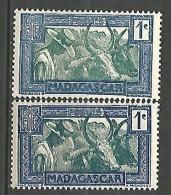 MADAGASCAR N� 161A x 2 NUANCES  NEUF* TRACE DE CHARNIERE / MH