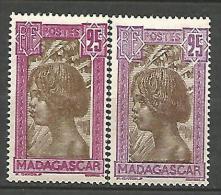 MADAGASCAR N� 168 x 2 NUANCES  NEUF**/*  / 1** ET 1   CHARNIERE / MH