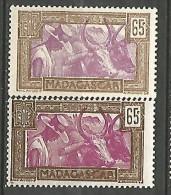 MADAGASCAR N� 172 / 172a x 2 NUANCES  NEUF**/*  / 1** ET 1  TRACE DE CHARNIERE / MH