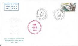 XXXIE EXPED. EN TERRE ADELIE - PAUL EMILE VICTOR - DUMONT DURVILLE  - PAPIER GAUFRE  1980 - Lettres & Documents