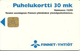 TELECARTE FINLANDE FINNET - YHTIOT 30 MK UNITES  VERSO ESCARGOT CAMELEON