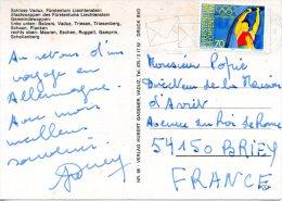 LIECHTENSTEIN. N°787 De 1984 Sur Carte Postale Ayant Circulé. J.O. De Los Angeles/Saut à La Perche. - Summer 1984: Los Angeles