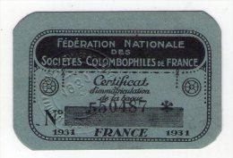 1931 . COLOMBOPHILIE - PIGEON - CERTIFICAT D' IMMATRICULATION DE LA BAGUE 550488  - FRANCE - TIMBRE SEC . - Lottery Tickets