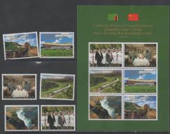 ZAMBIA, 2014,MNH, FRIENSHIP WITH CHINA, TRAINS, WATERFALLS, VICTORIA FALLS, GREAT WALL  OF CHINA, 6v+SHEETLET - Treinen
