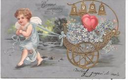 ANGE - ANNEE 1904 - Carte Gaufrée, Dorure - Anges