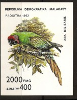 Madagascar 1992 n� BF 82 ** Faune, Animaux, Perroquet, Psittacid�s, Oiseau, Ara Militaris, Arbre, Branche, Nature