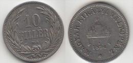 Ungheria 10 Filler 1894 Km#482 - Used - Hongrie