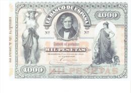 SPAIN 1884- REPLICA REPRODUCCION  - JUAN ALVAREZ MENDIZABAL - POLITICIAN PAPER BILL OF 1.000 PTAS ISSUED JAN 1,1884 RE - [ 8] Falsi & Saggi