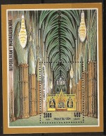 Madagascar 1994 n� BF 93 ** Cath�drale, �difices religieux, Londres, Angleterre, Abbaye de Westminster, Cristal, Lustre