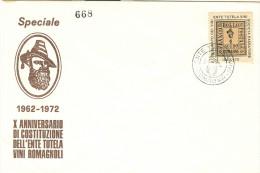 ENTE TUTELA VINI ROMAGNOLI, SOCIETA PASSATORE, X ANNIVERSARIO, 1972, ERINNOFILO FIGURATO, SU BUSTA N/V, ANNULLO PRIVATO - Vins & Alcools