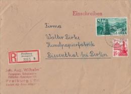 Baden R-Brief Mif Minr.8, 12 Freiburg - Französische Zone