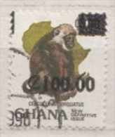 Ghana Used Revalued Monkey Stamp, 100C On 3.00C - Monkeys