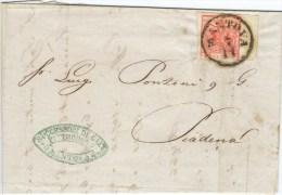 A246) A.S.I. LOMBARDO-VENETO 15 CENT. 1850 SU LETTERA DEL 7.11.1854 - Lombardy-Venetia