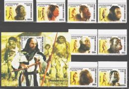 Cambodia 2001 Kambodscha Mi 2254-2261 + Block 291(2262) Prehistoric Man / Entwicklungsgeschichte Des Menschen **/MNH - Prehistorie