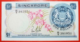 ★ORCHID: SINGAPORE★ 1 DOLLAR (1967)! CRISP! FIRST ISSUE!  LOW START★NO RESERVE! - Singapour