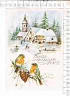 CARTE  De   BONNE  Et   HEUREUSE  ANNNEE   -  Paysage  Enneigé   -  Oiseaux Sur Une Branche  De  Pins - Nouvel An