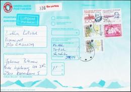 1992. Lars Møller. 100 Kr. + 2x 10 Kr. + 4 Kr. QAQORTOQ 4.10.1993 ADRESSEKORT.  (Michel: 227) - JF175435 - Groenland