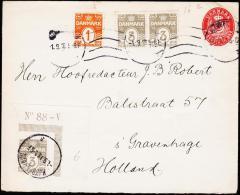 1913. Numeral. 3 Øre Grey. Perf. 14x14½ No 88-V. + 1 + 2x 3 øre + 10 øre. KJØBENHAVN 1.... (Michel: 79a) - JF175443 - Danemark