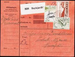 1957. Landscapes. 10 Kr.  + 2 KR. + 5 KR. REYKJAVIK 25. VIII. 60. PARCELCARD.  (Michel: 318) - JF175454 - Islande