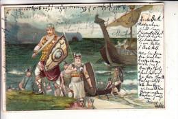 VÖLKERKUNDE / ETHNIC - Wikingerzug, Lithographie, 1904 - Europe