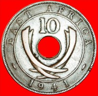 ★CURVED TUSKS & HOLE:  EAST AFRICA ★ 10 CENTS 1941I! LOW START★NO RESERVE!  GEORGE VI (1937-1952) - British Colony