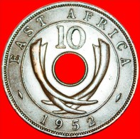 ★CURVED TUSKS & HOLE:  EAST AFRICA ★ 10 CENTS 1952! LOW START★NO RESERVE!  GEORGE VI (1937-1952) - British Colony