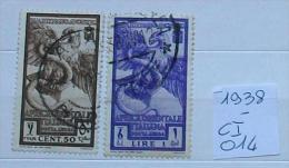 """Ci014 -africa Orientale Italiana 1938 """"bimillenario Augusto Posta Aerea  """"  Serie Cmpl Usati - Afrique Orientale Italienne"""