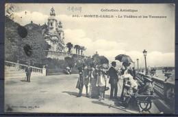 1909 MÓNACO , MONTECARLO , EL TEATRO Y LAS TERRAZAS , CIRCULADA. - Monte-Carlo