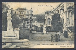 1909 MÓNACO , MONTECARLO , MONUMENTO DE BERLIOZ , CIRCULADA. - Monte-Carlo