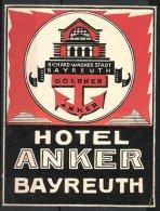 Kofferaufkleber Bayreuth, Hotel Anker, Gebäudeansicht & Goldener Anker - Ohne Zuordnung