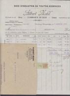 France ALBERT MEHL Bois Et Charbons STRASSBOURG-KOENIGSHOFEN Facture & Enveloppe 1922 Quittances Timbre - Frankreich