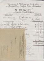 France N. BÜRGEL Commerce Matériaux Construction (Cokes & Briquettes) STRASSBOURG -KOENIGSHOFEN Facture & Enveloppe 1923 - Frankreich