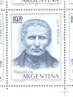 HOMENAJE A LUIS BRAILLE GRABADO EN ACERO FILIGRANA CASA DE MONEDA AÑO 1976 MNH ARGENTINA - Unused Stamps
