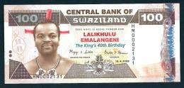 SWAZILAND : 100 Emalageni – 2008  -  Commemorative : THE KING 40TH BIRTHDAY - UNC - Swaziland