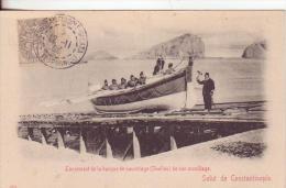 49-Costantinopoli-Turchia -Turquie-Turkey-Levante Francese-France-Varo Di Barca-Lancement De La Barque De Sauvetage-1906 - Turquie
