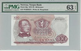Norway 100 Kroner 1973 P38g Graded 63 EPQ By PMG (Choice Uncirculated). - Norvegia