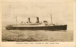 """Bateaux- Paquebots - Paquebot - Canadian Pacific Liner """" Duchesse Of York """" 20000 Tons - 2 Scans - état - Piroscafi"""