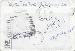 Nigeria 2015 Yaba Returned Sender Instructional Handstamp Barcoded Registered Cover Cameroon - Nigeria (1961-...)