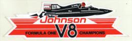 AUTOCOLLANT . STICKER . JOHNSON . FORMULA 1 . V8 CHAMPION . OUTBOARD MOTORS .   HORS BORD . - Autocollants