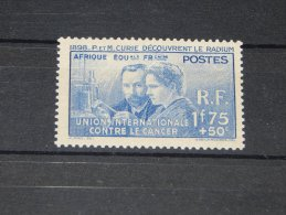 French Equatorial Africa - 1938 Marie Curie *mint HINGED*__(TH-1047) - A.E.F. (1936-1958)
