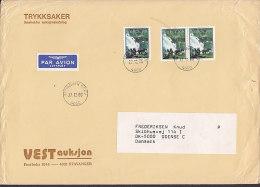 Norway PAR AVION Label VEST Auksjon STAVANGER BREV 1980 Cover Brief ODENSE C. Denmark - Briefe U. Dokumente